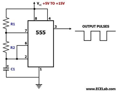 Astable Multivibrator Using IC 555 Circuit |Free ...