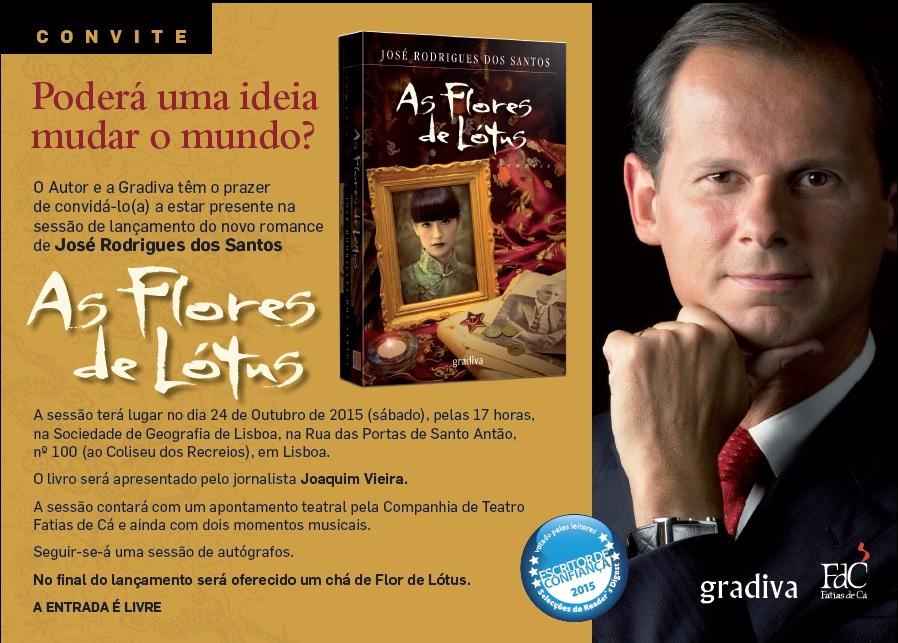 "Novo livro de José Rodrigues dos Santos, ""As flores de Lótus"""
