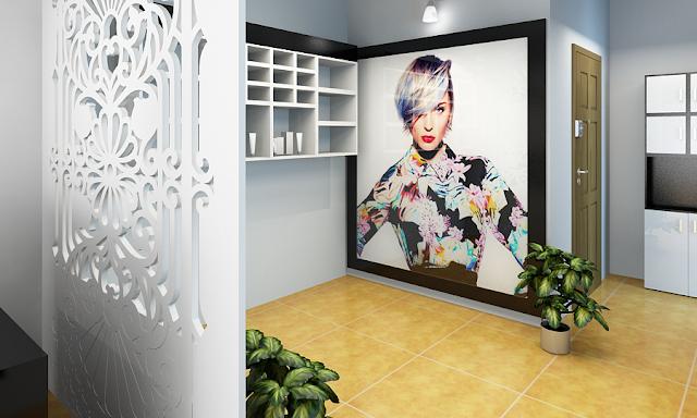 In tranh dán kính cho salon tóc trên nền decal trắng