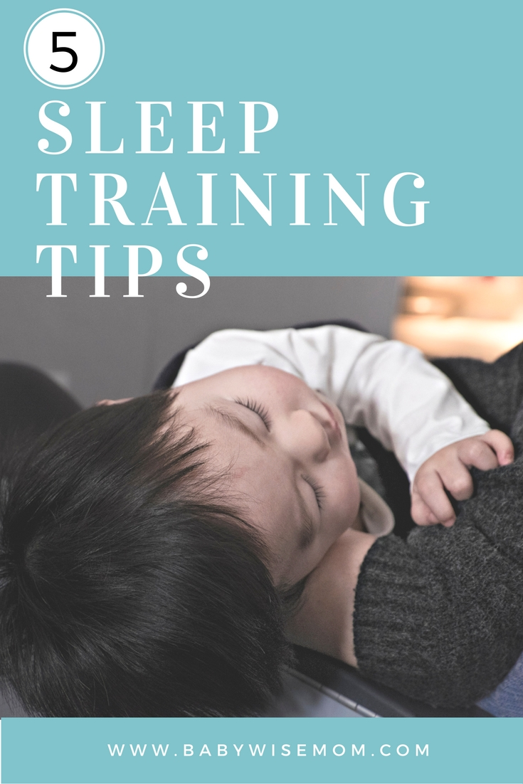 5 Sleep Training Tips with picture of a sleeping baby