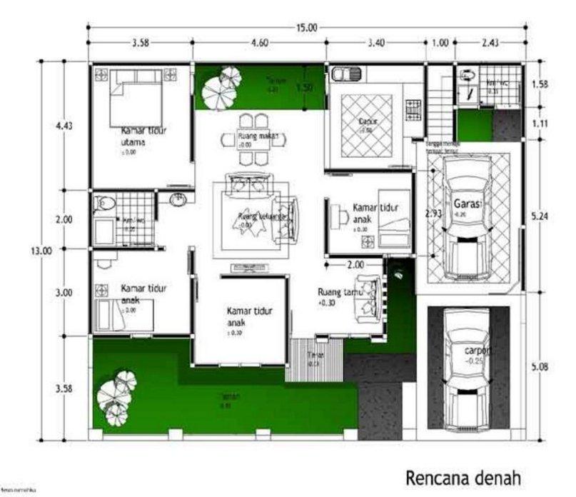 denah rumah ukuran 13x15 moderen