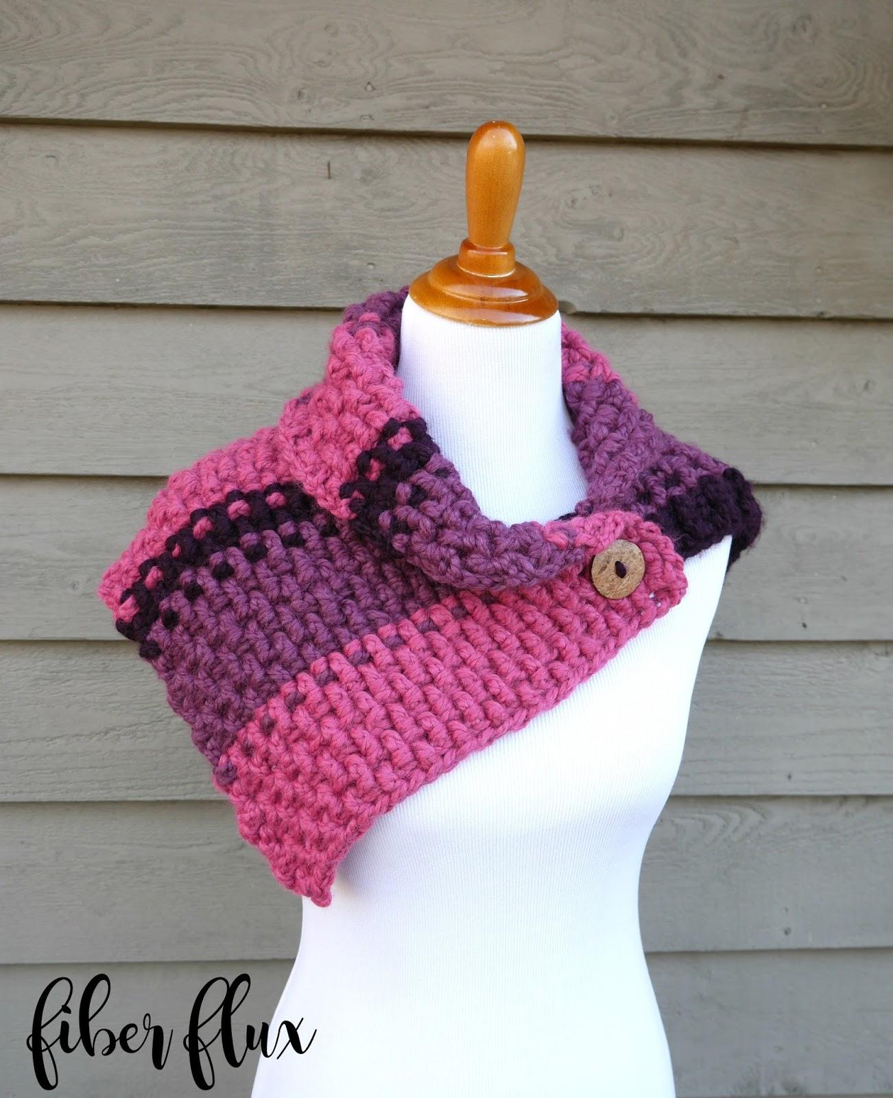 Fiber Flux: Free Crochet Pattern...Lingonberry Button Cowl