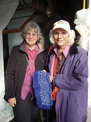 Robin Atkins (on left) at Kekfesto studio in Hungary