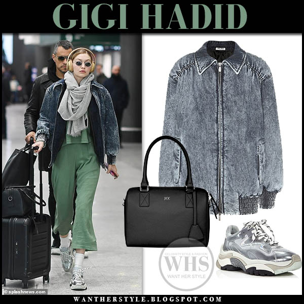 Gigi Hadid in acid wash denim miu miu jacket and grey ash addict sneakers airport style january 12