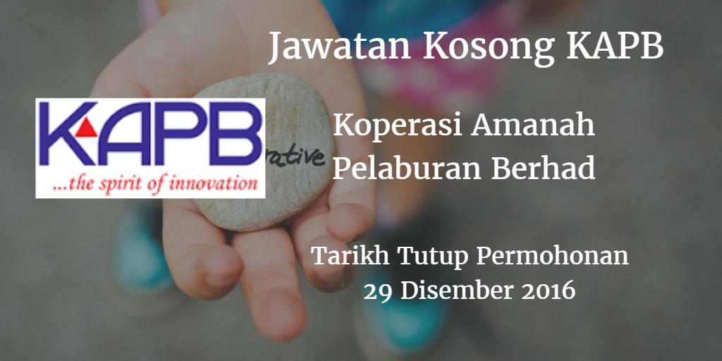 Jawatan Kosong KAPB 29 Disember 2016