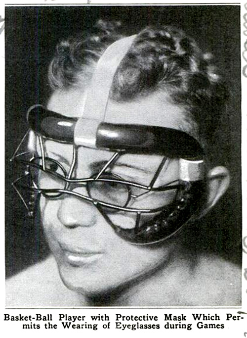 Basket-ball player with protective mask which permits the wearing of eyeglasses during games.