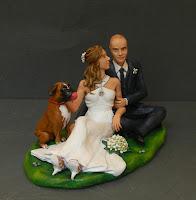 statuine torta matrimonio personalizzate sposi con cane orme magiche