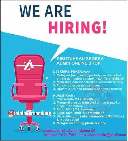 Lowongan Kerja Admin Online Shop CV. Zlata Aksara Bandung Maret 2019