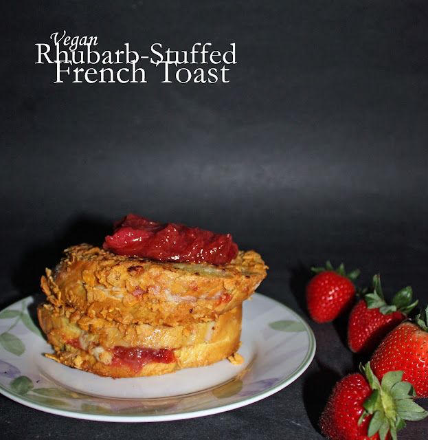 vegan rhubarb-stuffed french toast
