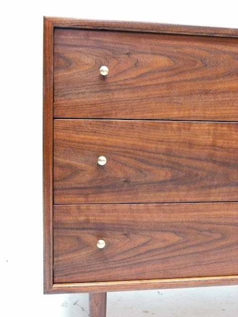 Three-Drawer Mid-Century Modern Walnut Bachelor Dresser Chest Brass Pulls