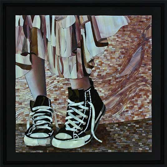 In her shoes, seni mozaik sepatu, seni mozaik celana, seni mozaik lantai dan dinding
