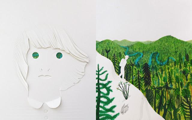 Otra página con texturas y troqueles del libro ilustrado El Bosque de Riccardo Bozzi, ilustrado por Violeta Lópiz y Valerio Vidali
