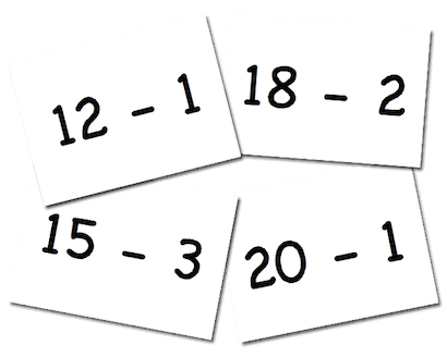 Free Subtraction  Game for first grade. Subtracting 1, 2, 3 from 11 to 20.