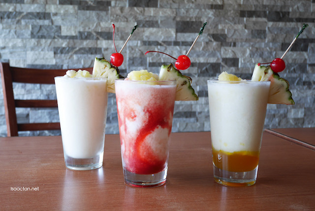 Pina Colada, Pina Strawberry Swirl and Pina Mango Swirl