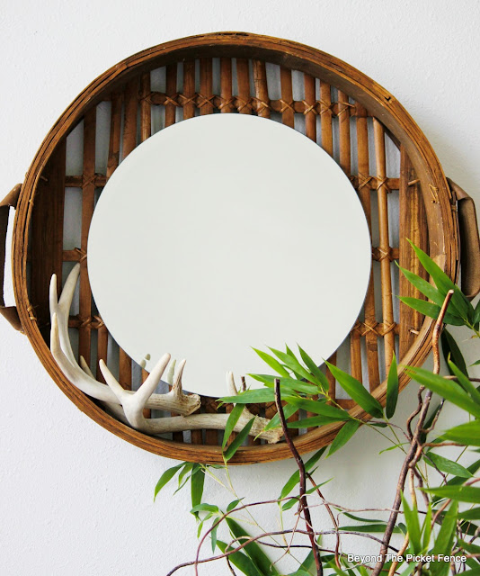 round mirror, upcycled, basket, bamboo steamer, repurposed, DIY, antlers, http://bec4-beyondthepicketfence.blogspot.com/2015/10/round-basket-mirror.html