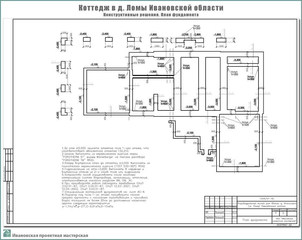 Проект жилого дома в пригороде г. Иваново - д. Ломы Ивановского р-на. Фундаменты