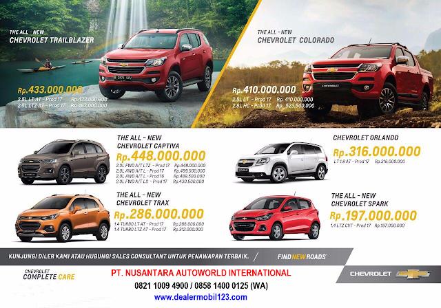 Harga OTR Chevrolet per 1 Oktober 2017