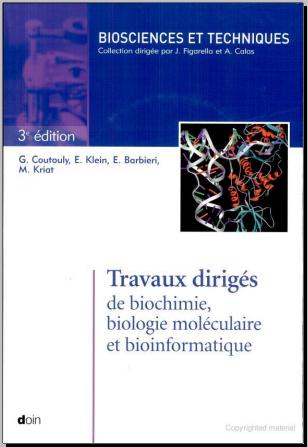 Livre : Travaux dirigés de biochimie biologie moléculaire et bioinformatique PDF