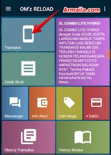 Buka aplikasi dan masuk ke menu Transaksi
