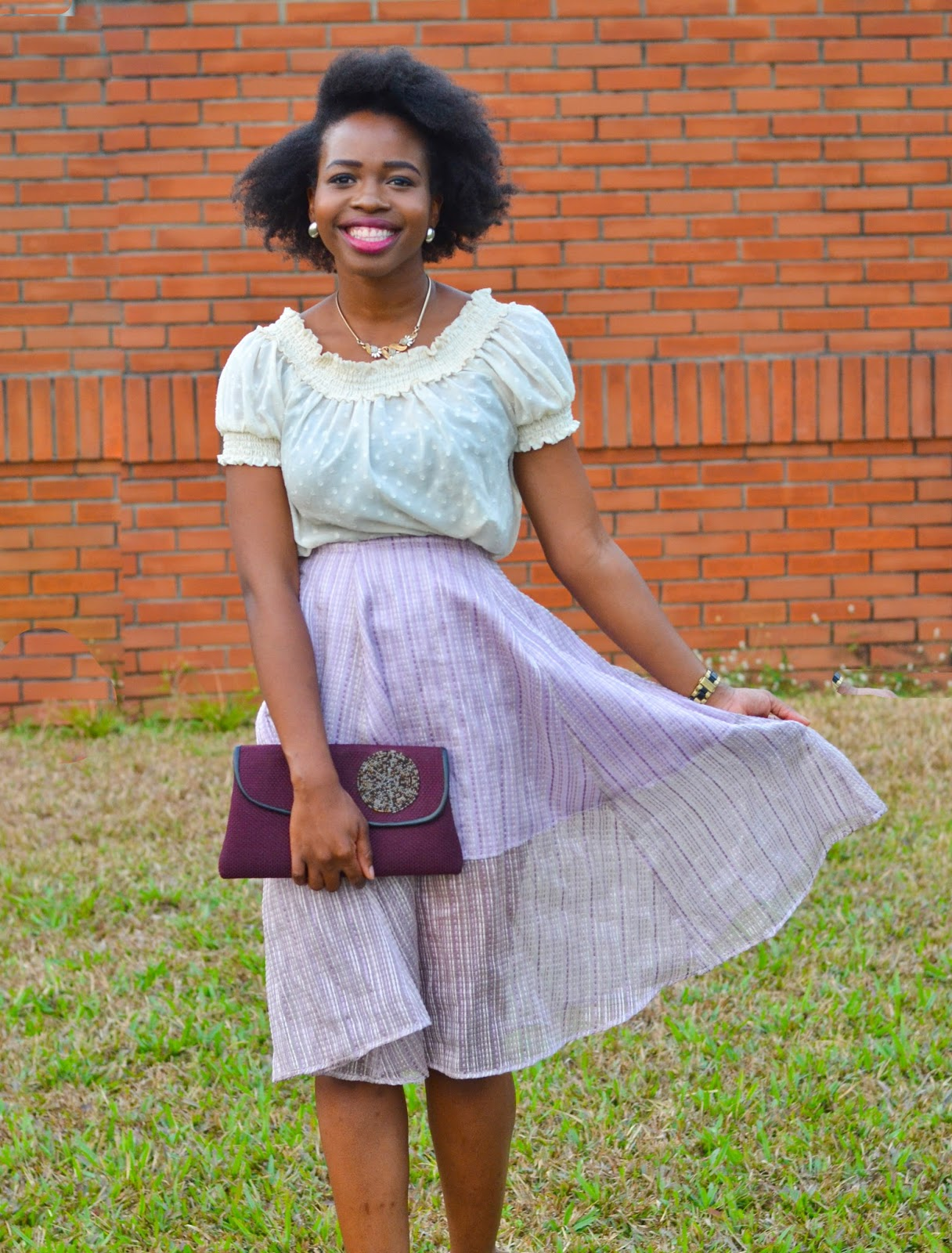 Lilac Two Tone Skirt & Plum African Clutch