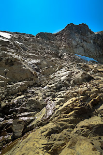 The long climb along slab rock to the summit of Big Interior Mountain