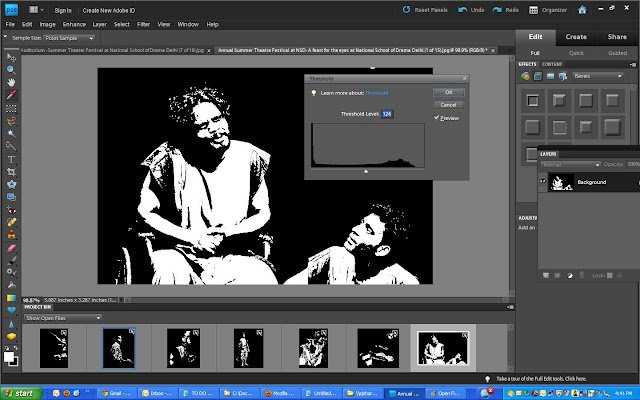 How to create artistic portraits in Black and White using Adobe Photoshop Elements - ADJUSTMENT - THRESHOLD : Today one of my friend sent me a facebook link and asked to look at the photograph. Photograph was a black and white but had some artistic touch which mainly focussed on texture of the face. My friend wanted a similar and asked me to create one for him... After spending a lot of time, I found a one click solution to it which gave me reasonable results if photographs is clicked is better lighting !!!Here is one of the portraits I tried !!! Initially I didn't like it but trying on various shots, results seemed good !! I tried on various photographs and here is the procedure to get such results -1. Open your photograph in Adobe Photoshop Elements (Editor), as under...2. Go to Filter Menu and select Threshold under Adjustment Sub-Menu...3. This option will open a Threshold dialog with histogram and you can move the slider to adjust BLACK or WHITE pixel density... Play with it and leave when you are satisfied with results..4. Now simply save and enjoy !!!Here is the final result of the photographs used in above screenshots...Some more samples....Some of the filters in Adobe Photoshop Elements are awesome !!!Try it out and share your feedback about this article !!!