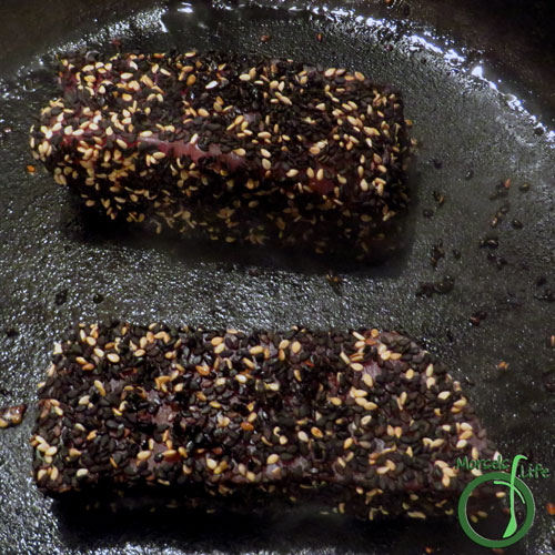 Morsels of Life - Sesame Crusted Tuna Step 4 - Cook in a greased pan for 1-2 minutes on each side (for medium rare).