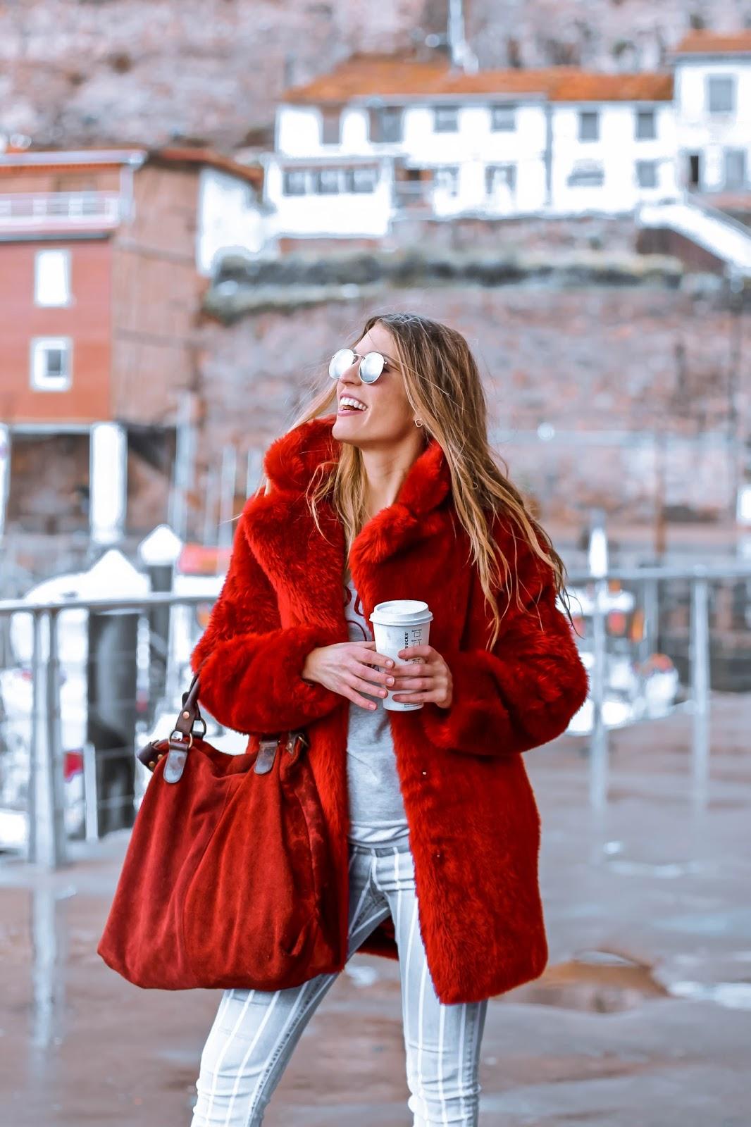 red furry coat
