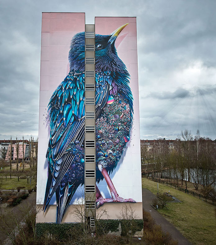 Mural de un estornino gigante en Berlín por Collin van der Sluijs y Super A