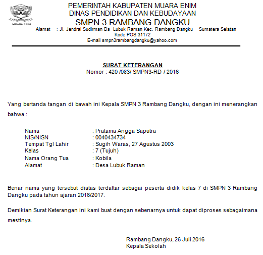 gambar format surat Keterangan Siswa Aktif Terbaru 2016/2017