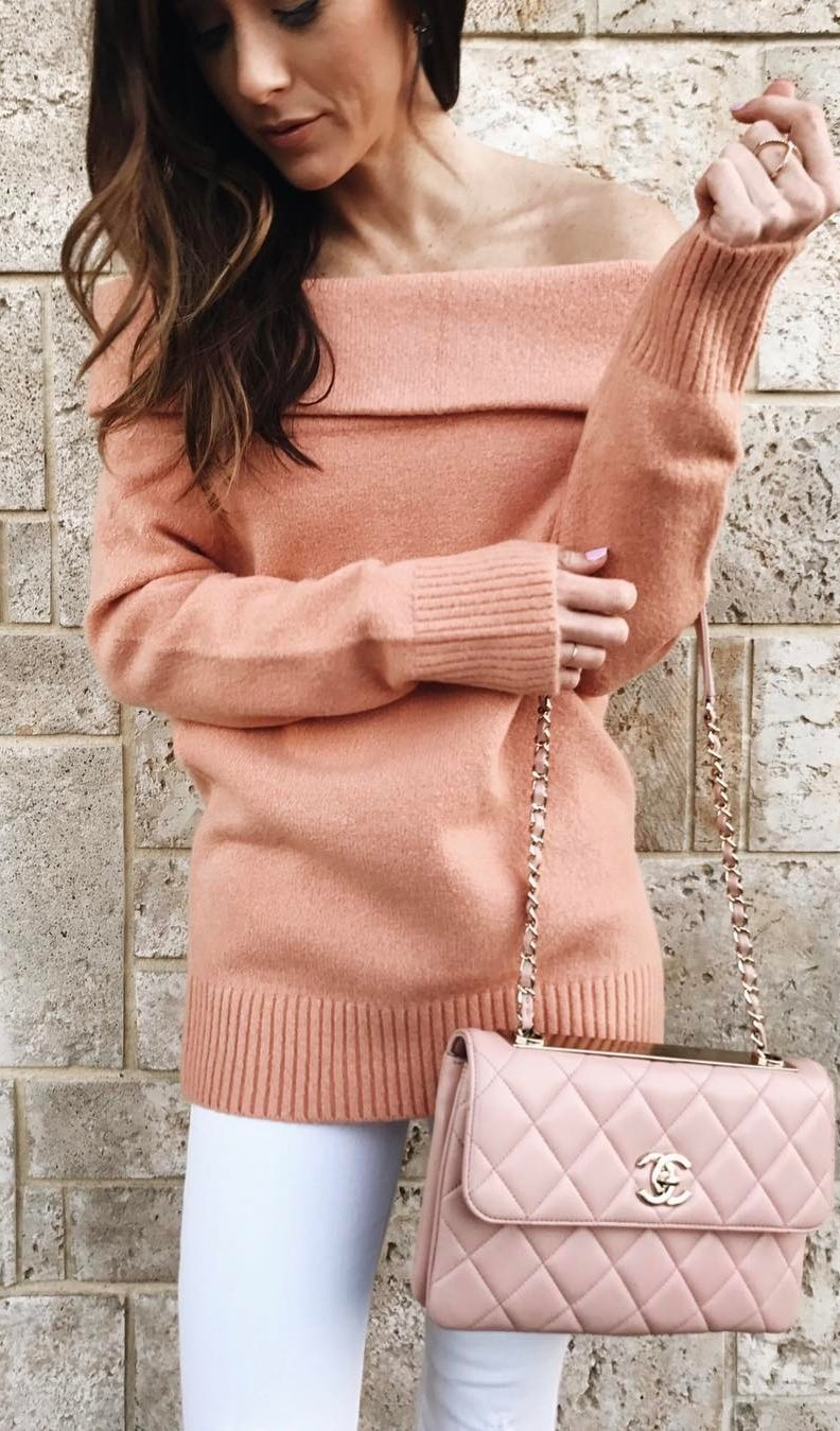 white and blush trends / off shoulder sweater + bag + skinnies