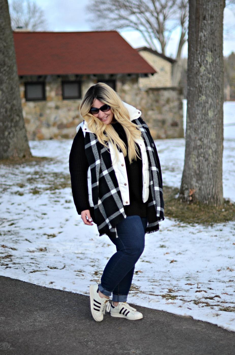 Plus Size Puffer Vest Skinny Jeans