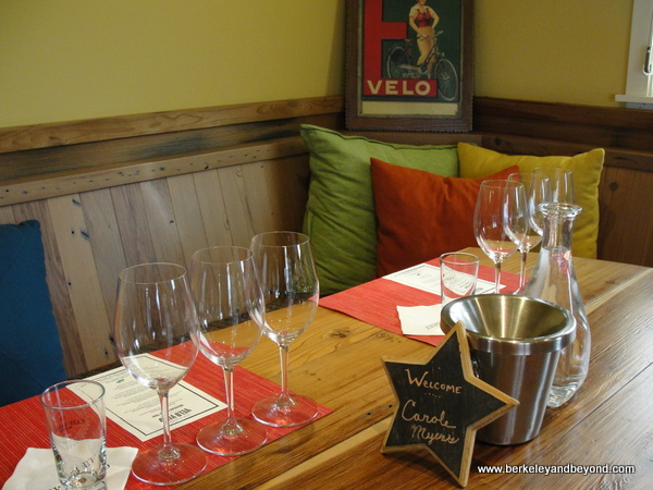 wine-tasting set-up at Clif Family Velo Vino Tasting Room in St. Helena, California