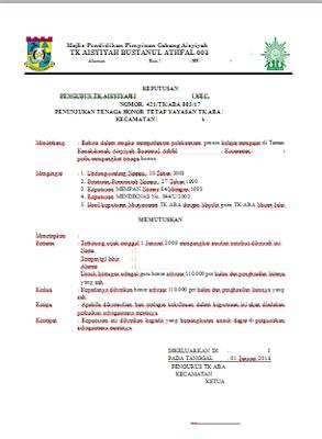 Geveducation:  Contoh Format SK Pengangkatan Guru Tetap/Tenaga Honor Yayasan TK/KB 2018/2019