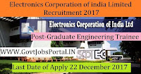 Electronics Corporation of India Limited Recruitment 2017– 66 Graduate Engineering Trainee