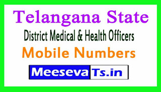 Telangana State District Medical & Health Officers Mobile Numbers List