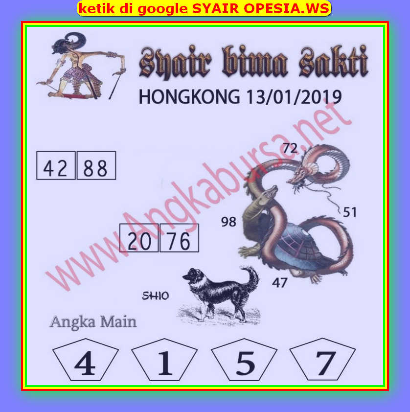 Kode syair Hongkong Senin 13 Januari 2020 127
