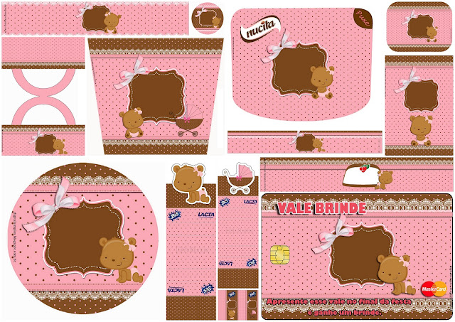 Baby Girl Bear: Free Printable Candy Bar Labels.
