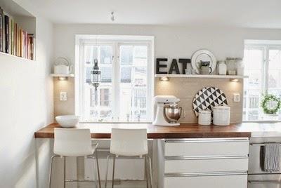 cocina: barra americana prolongando la encimera - decoracion
