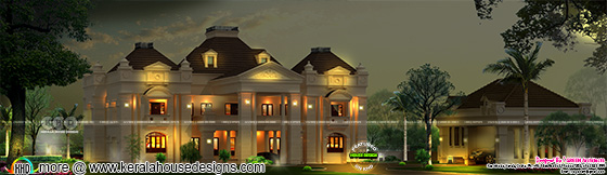 Colonial type Royal style Kerala home design