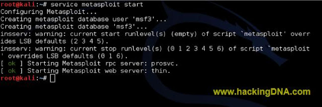 SERVICE METASPLOIT START
