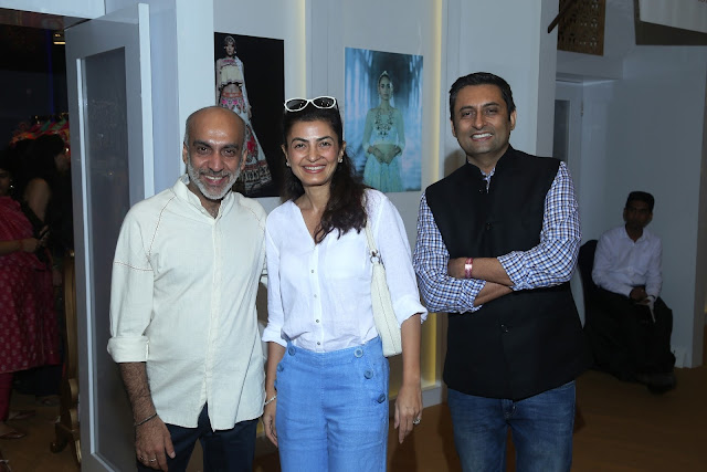 Designer Manish Arora (left) and Arjun Mehra, Publishing Director, Conde Nast India (right) with friend at Day 3 of Vogue Wedding Show 2016 at Taj Palace, New Delhi wedding fashion