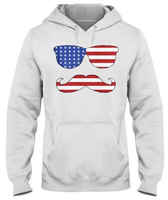The Hipster 4th of July With Mustache and Sunglass T Shirt Hoodie