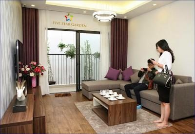 Phòng khách căn hộ mẫu Five Star Kim Giang