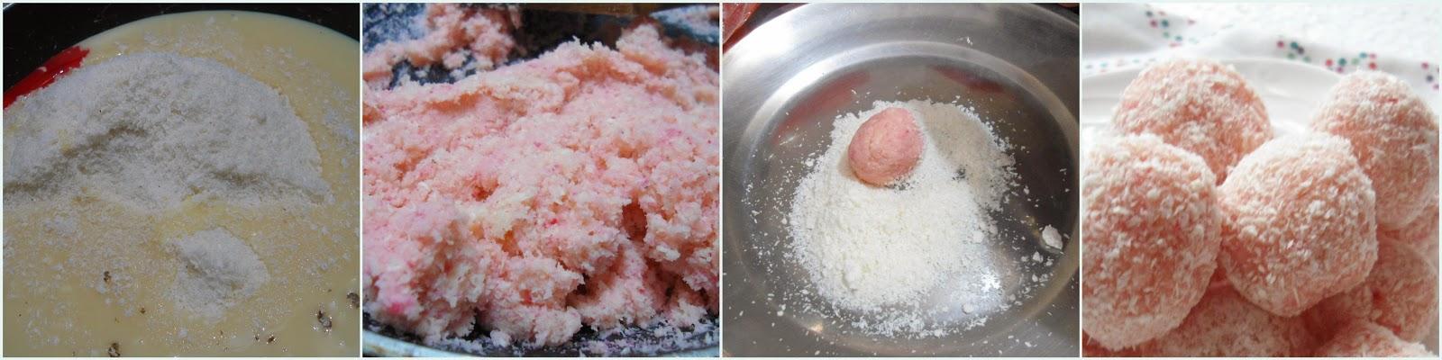 Rose flavored Coconut Balls   Rose Coconut Balls   Easy Sweet Recipe