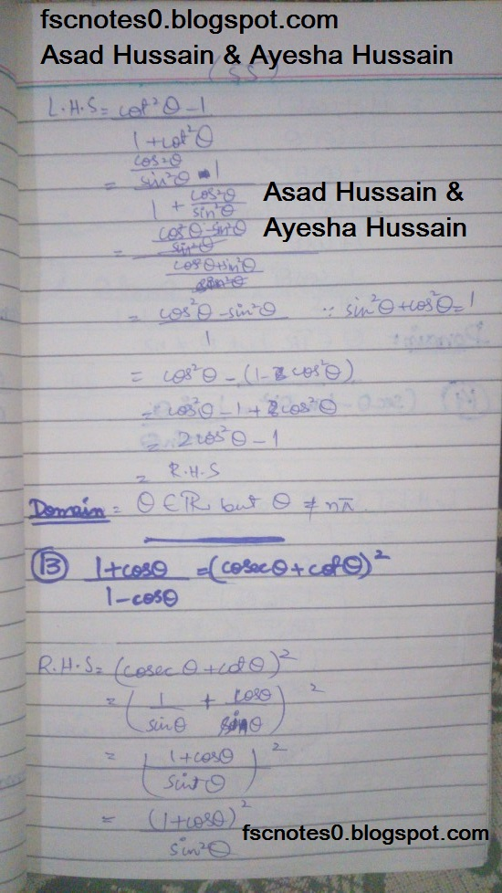 FSc ICS FA Notes Math Part 1 Chapter 9 Fundamentals of Trigonometry Exercise 9.4 Question 11 - 15 by Asad Hussain & Ayesha Hussain 1