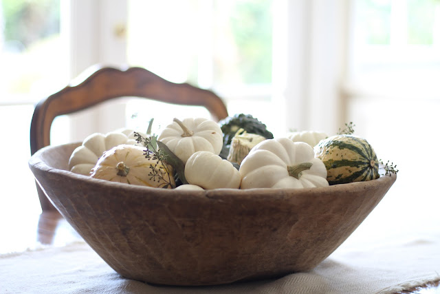 antique dough bowl filled with baby white pumpkins and gourds
