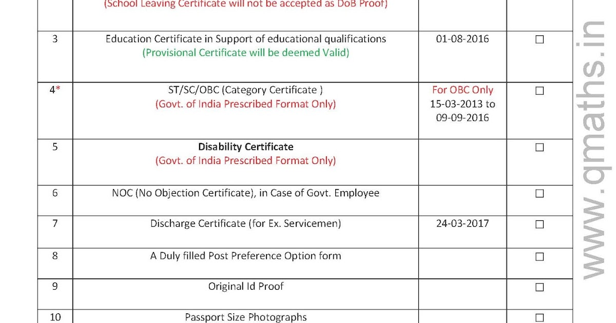 Check List for SSC CGL 2016 Tier4 Document Verification PDF – No Objection Certificate for Employee
