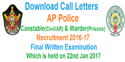 AP PC & Warder Final Written Exam Call letters 2017