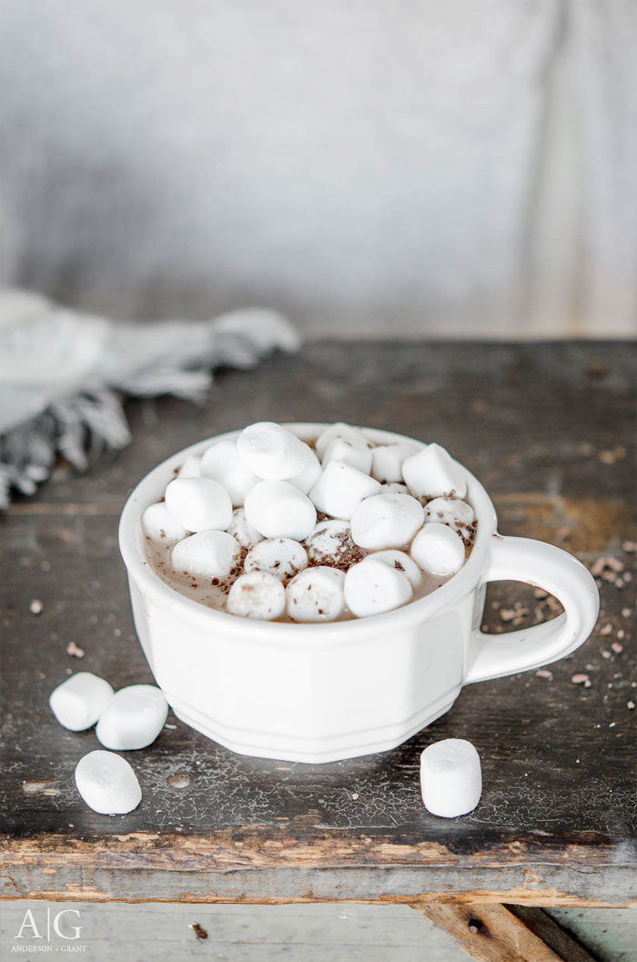 White mug of hot chocolate with marshmallows